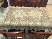 Wholesale Hand Crochet Tablecloths - 100% handmade table cover oblong, hand crochet table linen, rectangular tablecloth cotton, birthday gift for mom, White and Beige Options