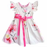 Wholesale Chinese Formal Short Dresses - Kseniya Kids Brand Summer Cute 100% Cotton Flower Baby Girls Chinese Style Short Sleeve Birthday Dress 2-14y Kids Girl Clothes