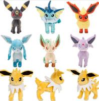 Wholesale Video Game Center - Poke Toys 20cm Poke Center Plush Toys Pikachu Dolls Jolteon Umbreon Flareon Eevee Espeon Vaporeon Poke Mon Stuffed cartoon Toys 4267