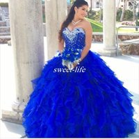 Wholesale Illusion Neckline Prom Dress Beaded - Royal Blue 2016 Quinceanera Dresses Cascading Ruffles Ball Gown Sweetheart Beaded Neckline Organza Corset Sweet 16 Party Dresses Prom Gowns