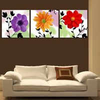 Wholesale Glass Vases Square - Unframed 3 Pieces Free Shipping picture Canvas Prints Chrysanthemum abstract potted flower Coffee Sunflower glass bowl Porcelain vase