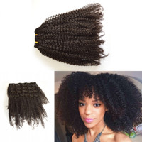 Wholesale Cheap Clip Extensions - 4a 4b  4c 3a 3b 3c Peruvian virgin Afro kinky curly hair Afro African American cheap clip in hair extensions G-EASY