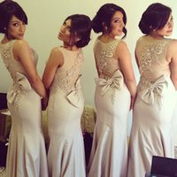 Wholesale Elegant Big Size Dress - Elegant Champagne Mermaid Bridesmaid Dresses Jewel Neck Beaded Big Bow Plus Size Sweep Train 2016 Maid Of Honor Wedding Party Guest Gowns