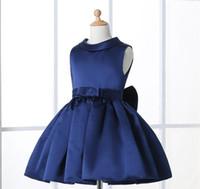 Wholesale Dresses Girl Age 12 - Navy Blue Flower Girl Dresses For Weddings Elegant Knee Length Crew Neckline Cap Sleeve Custom Kids Formal Wear Elastic Satin Dress 3-14 Age