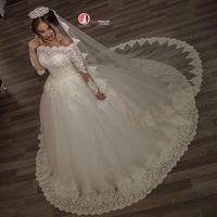 Wholesale Illusion Bridal Gowns Winter - 2017 Vintage Off the Shoulder Ball Gown Wedding Dresses Top Lace Illusion Long Sleeves Autumn Winter Bridal Gowns vestido de noiva BA2878