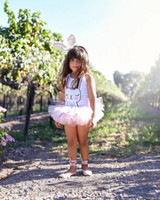 Wholesale Toddler Dance Dresses - Cute Cartoon Children Romper Rabbit Printed Tulle Princess Dance Dress for Girls Summer Bunny Tutu Kids Onesie Toddler Jumpsuit C2666
