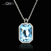 DFN501 LuxuryCrystal Exaggerated NecklacesPendant for Women Platinum Plated Festa / Casamento Jóias Rectangle imitation Gemstone