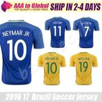 Wholesale Brazil Soccer - TOP quality Brazil jersey 2016-17 Soccer jersey Camisa de futebol Brasil Neymar Oscar home away jersey Adult football Shirt men Fast deliver