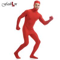 traje de cosplay vermelho venda por atacado-Atacado-Homens Jumpsuit Cosplay Anime Trajes de Palco All-inclusive Rosto Aberto Vermelho Lycra Collant Masculino Cosplay Role Play Zentai Macacão Skinny