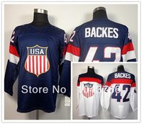NWT David Backes USA Jersey Bleu Olympique 2014 Sochi Stitched American Hockey Équipe USA 42 David Backes Olympic Jersey Blanc Pas cher