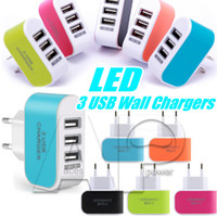 Wholesale Wholesale Blackberry Mobile Phones - US Plug 3 USB Ports Wall Charger 5V 3.1A LED Travel Power Adapter EU Chargers Dock Charge For Mobile Phone S8 Note8