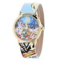Wholesale Gilded Watch - New Fashion Father Christmas Pattern Watch Gilt Digital Quartz Casual Leather Clock Women Dress Flower Wristwatch 5 Colors