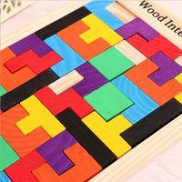 Wholesale Tangram Jigsaws - Zorn toys-Wood lntellegence Wooden Tangram Jigsaw Tetris Puzzle Toys Game Educational Game brain developmental toys Wholesale  free shipping