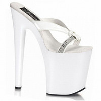 Wholesale Unusual Weddings - 20cm Heelpieces White Gorgeous Rhinestone High Heels Wedding Women Platform Slippers 8 Inch Unusual Hand Made High Heel Shoes