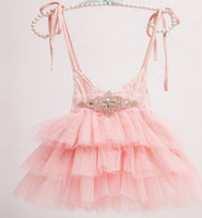Wholesale Girls Summer Dress Belt - Girls princess dress new children Rhinestone lace belt lace suspeder dress kids lace tulle tutu cake dress children's days dresses A8690