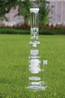 Wholesale Icing Glass - 7mm White Dumbbell water bong with 75mm honeycomb perforate and birdcage perc glass waterpipe tall 20inches 12 ice catcheres