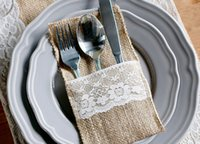 "Wholesale Burlap Products - Vintage 4""x8"" Hessian Burlap Lace Tableware Pouch Cutlery Holder Wedding Decoration Favors Party Supply Products free shipping HY1199"