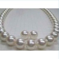 "Wholesale 14kt Heart Pendant - 18""10-11MM CHARMING BEAUTIFUL GORGEOUS AKOYA NATURAL WHITE PEARL NECKLACE earring 14KT"