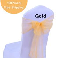 düğün sandalyesi süslemeleri vintage toptan satış-100 adet Düğün Sandalye Yay Sashes Organze Inci Iplik sandalye Kapak Düğün Hediye için Papyon Kravat Vintage Parti Dekorasyon 7