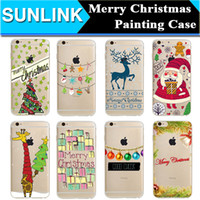 Wholesale Iphone 5s Christmas - Merry Christmas Santa Claus Elk Paint Case Crystal Clear TPU Soft Cover Skin for iPhone 7 plus 6 6s Plus 5 5s se