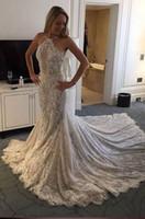 backless hochzeitskleider china großhandel-Luxury Crystal Full Lace Mermaid Brautkleider Halter Backless Vintage Brautkleider nach Maß Kapelle Zug Brautkleider aus China