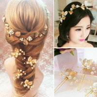 Wholesale Gold Leaf Hair - Gold Leaf Tiaras Set Hair Accessories New Wedding Headband Pearls Bridal Flower Headpieces For Bride Wedding Party Gowns
