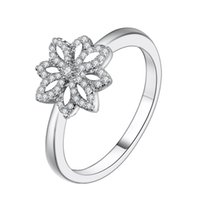 Wholesale Small Charms For Jewelry Making - Wholesale Many Small Petals With Clear Crystal Charm 925 Sterling Silver Rings For Women Female Charm Original Jewelry Making