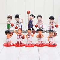 Wholesale Slam Dunk Anime - 10pcs set Anime Slam Dunk PVC Action Figures Dolls Boys Toys Doll Birthday Christmas Gifts with base