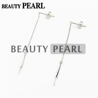 Bulk of 3 Pairs Pearl Drop Earring Mountings Threader 925 Sterling Silver Dangle Chain Earring Blanks