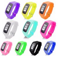 Wholesale Yellow Plastic Bracelets - Digital LCD Pedometer Watch Run Jogging Outdoor Step Walking Distance Calorie Counter Bracelet Watch Sport Watch For Women Men