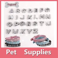 Wholesale 12 PCS DIY Dia-Charme-Buchstaben A-Z Nummer 0-9 10mm freie Rhinestone Letters Haustier Hund Katze Name Personalized Name DIY Schieber 160910