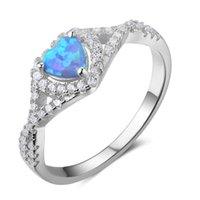 Wholesale Cheap Blue Engagement Rings - 5pcs Lot New 100% 925 Sterling Silver Rings Heart Blue Opal Rings Cheap Engagement Rings For Women