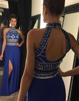 Wholesale Eevening Gowns - Two Pieces Prom Dresses 2017 High Neck Sleeveless Backless Sweep Train Crystal and Chiffon Long Party Gowns Eevening Dresses