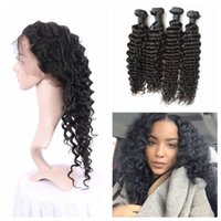 Wholesale indian deep wavy hair black resale online - 360 lace frontal with bundles virgin indian deep wave wavy curly human hair frontal pre plucked
