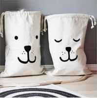 Wholesale Laundry Gold - INS Large Baby Toys Storage Bags Canvas Bear Batman Laundry Hanging Drawstring Bag Household Pouch Bag Home Storage Organization