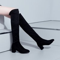 Wholesale Women Wearing Fur Heels - Autumn new chunky heels spring women knight boots knee boots fur round toes big size Two Way Wear shoes
