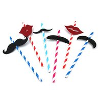Wholesale Colorful Mustache - Colorful Mustache Beard Paper Straws Drinking Paper Straws For Birthday Wedding Party Halloween Decoration DHL Free Shipping