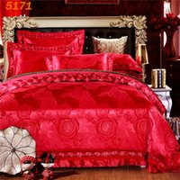 Wholesale Floral Quilt Red Orange - Red Peony flowers bedding set 4pcs wedding bedclothes set embroidered tribute silk quilt cover pillowcases cotton bed sheet 5171