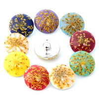 Wholesale Amber Jewellery - Mixed Colors Amber Flower Alloy 18mm Noosa Interchangeable Snap Buttons DIY Kinds of Noosa Bracelet Necklace Jewellery Accessory