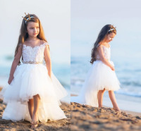 Wholesale Cute Short Lace Dresses - Cute High Low Flower Girls Dresses For Weddings Sheer Neck Cap Sleeves Lace Pearls Tulle Backless Toddler Holiday Birthday Party Dresses