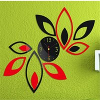 Wholesale Sticker Plastic Flower - Modern Fashion DIY Large Wall Mirror Clock 3D Sticker Quartz Flower Petal Clock Home Wall Decor