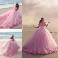 online shopping Ball Gowns - Pink Ball Gown Floral Cap Sleeves Wedding Dress Princess Boat Neck Plus Size Light Blue Bridal Gowns Custom Made