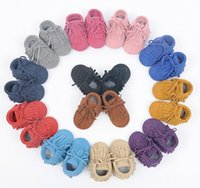 Wholesale Wholesale Moccasins Boots - New 100% Genuine Leather Toddler suede Baby Lace-up Moccasins Tassel double Fringe Baby soft Shoes First Walkers Infant boots A8461