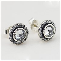 Wholesale Silver Cubic Zirconia Earings - Brilliant Lagacy Stud Earrings with Clear Crystal Authentic 925 Sterling Silver Earings for Women DIY charms fits for pandora jewelry