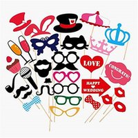 31 pc / Wedding Photo Booth Props su una decorazione Stick Baffi Lip fai da te Kit Fun Photobooth festa di nozze favori Accessori