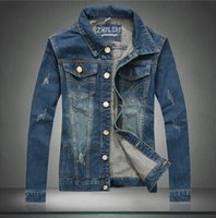 Wholesale Cow Boy Jackets - Male Spring Autumn Coat Clothes Denim Jackets Bikers Jeans Young Men Slim Jacket Cow Boy Outwear Otdoor Brand Clothing Blue