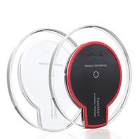 qi kablosuz şarj tablası toptan satış-Evrensel Kablosuz Şarj Qi Standart Samsung S7 iPhone 6 S için Şeffaf Pad Işık Şarj Pad Plaka Artı