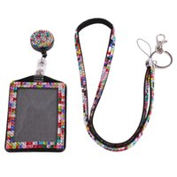 Wholesale Pink Lanyard Rhinestones - Rhinestone Lanyard Sling 5 Colors Bus IC Card Holder Employee Identity Card Badge With Lanyard Hang Rope Card Holder 677576
