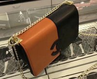 Wholesale Double Chain Wallet - Free shipping fashion Double color stitching chain shoulder bag handbag presbyopic card holder purse evening bag messenger bags wallet
