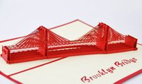 Wholesale New York Bridge - Brooklyn Bridge pop up card 3d New York souvenir cards wedding 3d card birthday card